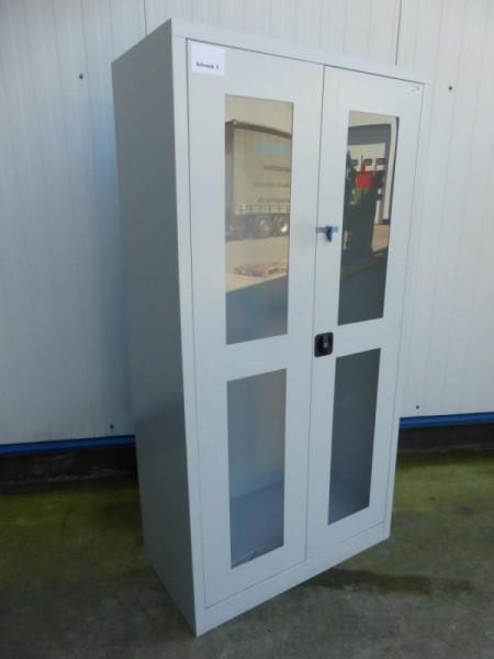 Flügeltürenschrank mit Sichtfenstertüren, Metallschrank, Werkstattschrank, Lagerschrank mit 2 Türen